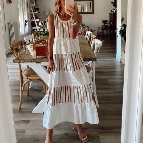 Full of Personality Striped Maxi Dress-White-S-