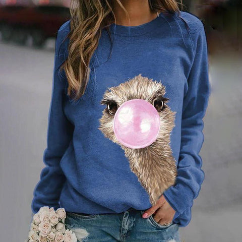 Fun Cartoon Printed Round Neck Long Sleeve Sweatshirt-Blue-S-