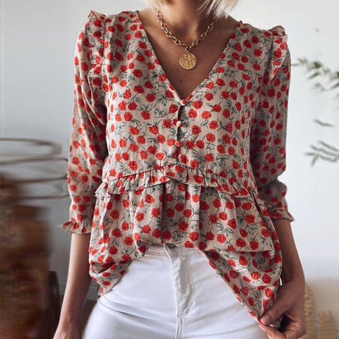 Gentle V-Neck 3/4 Sleeve Red Floral Blouse-Red-S-