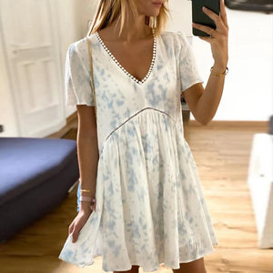 Gentle V-Neck Short Sleeve Loose Tie Dye Pleated Dress-White-S-