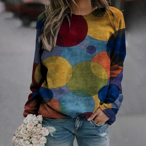 Geometric Print Long Sleeve Sweatshirt-Multicolor-S-