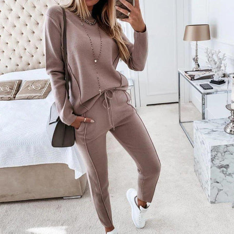 Get It Done Jogger Set-Brown-S-