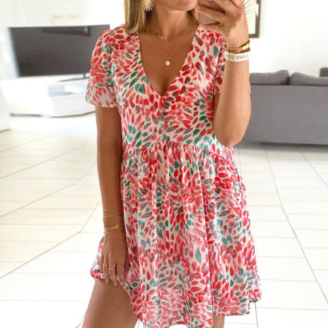 Glamorous Deep V-Neck Loose Printed Pleated Dress-Pink-S-