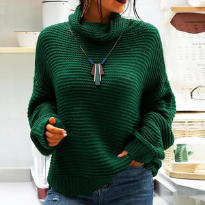 Glamorous Green Turtleneck Long Sleeve Sweater Top-Green-S-