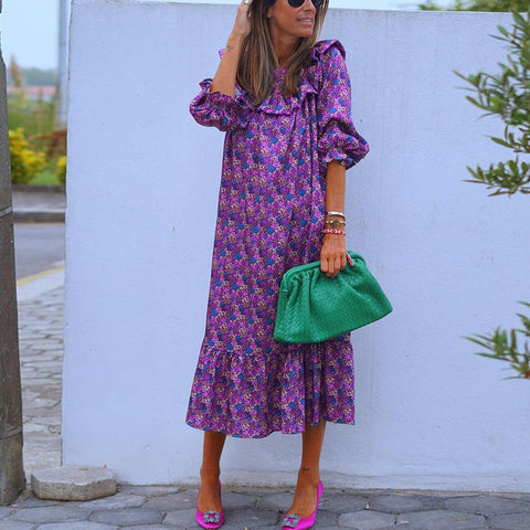 Glamorous Purple Printed Loose Vacation Dress-Purple-S-