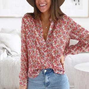 Glamorous Red Floral Fitted Blouse-Red-S-