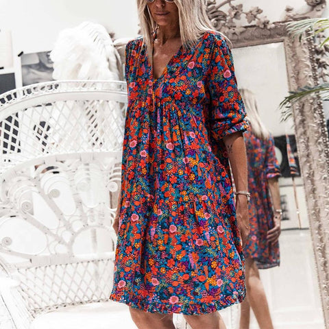 Glamorous V-Neck 3/4 Sleeve Loose Floral Mini Dress-Multicolor-S-