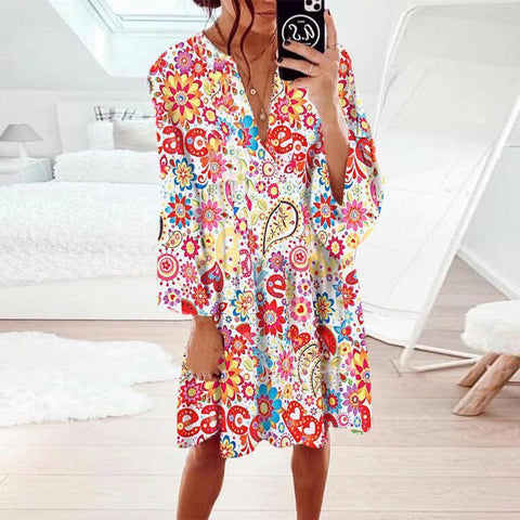 Glamorous V-Neck Long Sleeve Printed Mini Dress-Multicolor-S-
