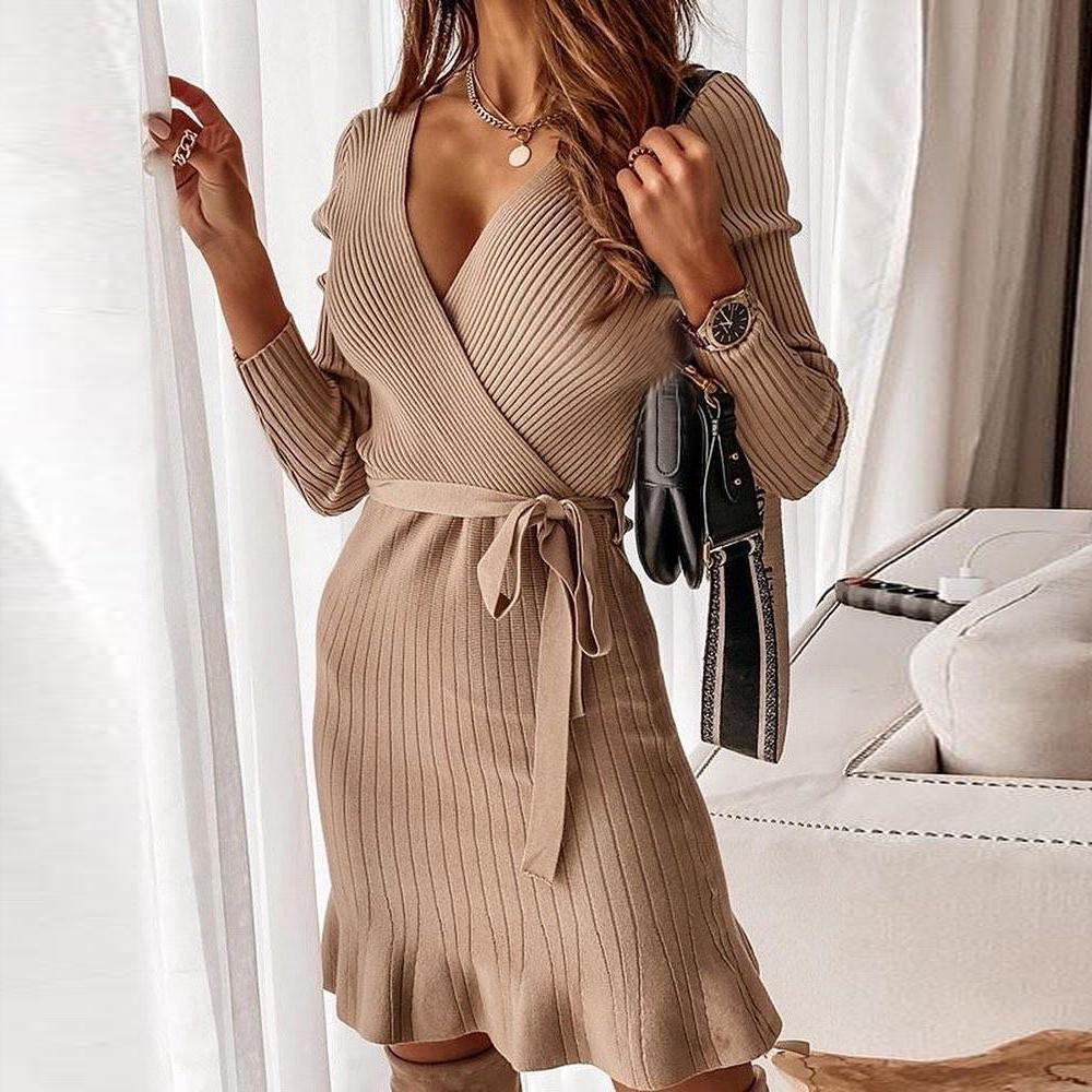 Glamorous V-Neck Plain Long Sleeve Mini Sweater Dress-Taupe-S-
