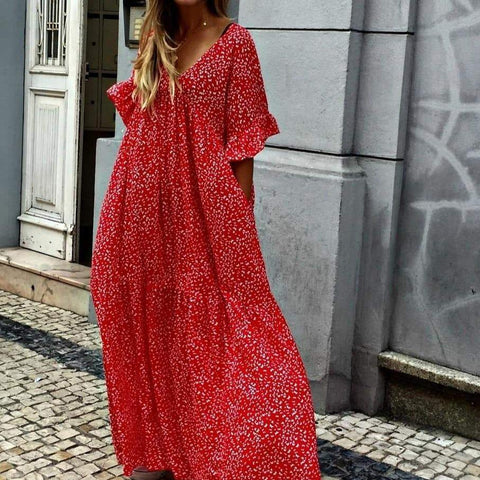 Glamorous V-Neck Short Sleeve Loose Printed Vacation Dress-Red-S-