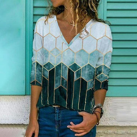Go for the Gold Deco Print Top-Green-S-