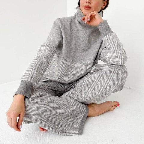 Good Feeling Herringbone Loungewear Set-Grey-S-