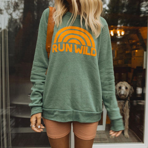 Green Print Long-Sleeved Sweatshirt-Green-S-