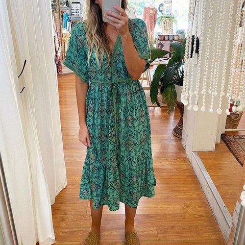 Green Print V-Neck Short Sleeve Midi Dress-Green-S-