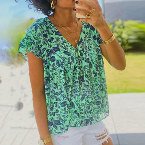 Green V-Neck Print Short Sleeve Top-Green-S-