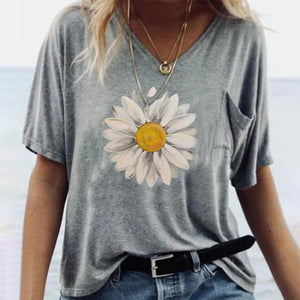 Grey Print Short Sleeve Top-Grey-S-
