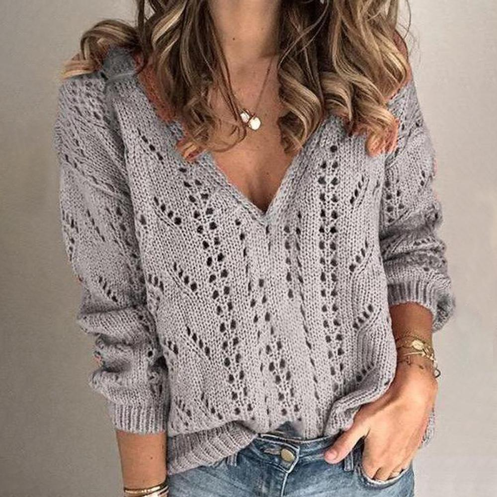 Groovy Hollow Out V-Neck Long Sleeve Sweater-Grey-S-