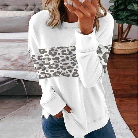 Here Kitty Leopard Print Sweatshirt-White-S-