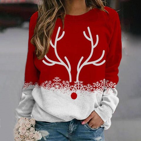 Holiday Spirit Reindeer Sweatshirt-Red-S-