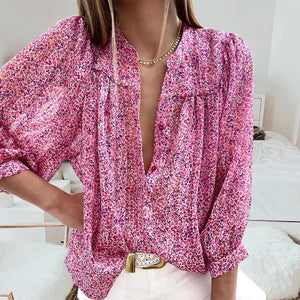 Hopeless Romantic Pink Ditsy Floral Blouse-Pink-S-