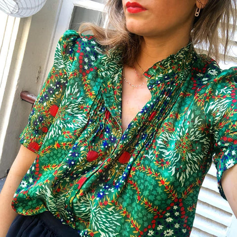 In Wonderland Green Printed Blouse-Green-S-