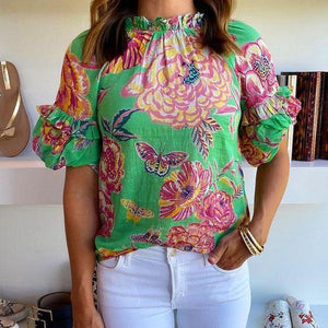 It's a Beautiful Day Printed Top-Green-S-