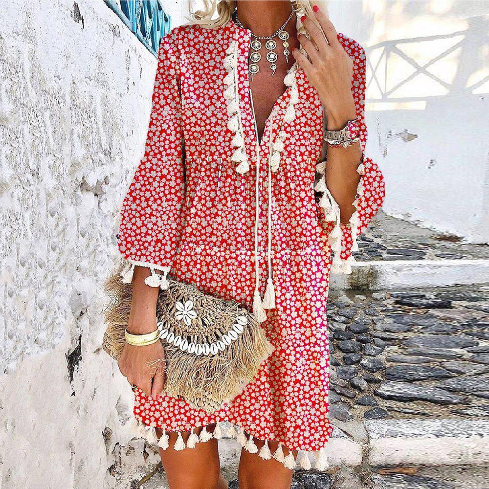 Just For Fun Floral Print Dress-Red-S-