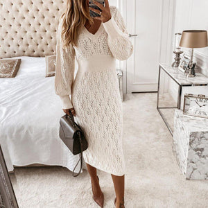 Just the Sweetest White Sweater Dress-White-S-