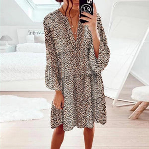 Keep up the Pace Leopard Print Dress-Brown-S-