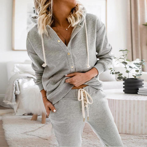 Key to Our Heart Grey Hoodie and Jogger Set-Grey-S-