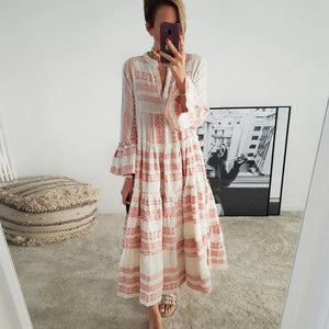 Ladies Who Brunch Printed Maxi Dress-PINK-S-