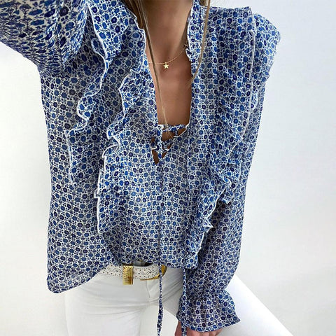 Land of Plenty Blue Floral Print Blouse-Blue-S-