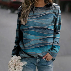 Land or Sea Printed Sweatshirt-Blue-S-