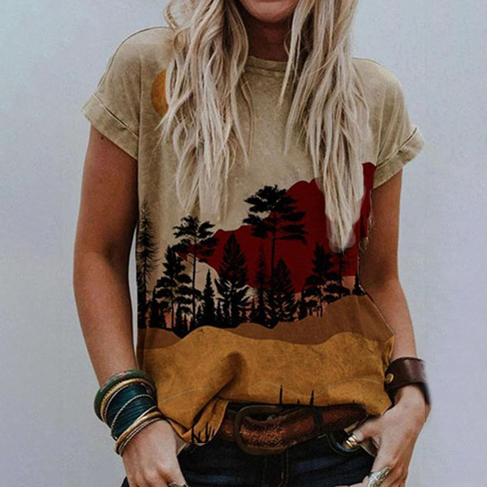 Landscape Printed Round Neck Casual T-Shirt-Brown-S-