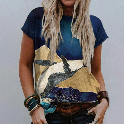 Landscape Printed Round Neck Fitted T-Shirt-Navy-S-