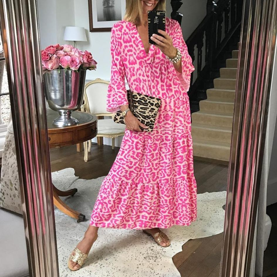 Le Pink Chic Leopard Print Dress-Pink-S-