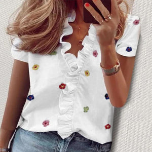 Lead by Example Floral Top-White-S-