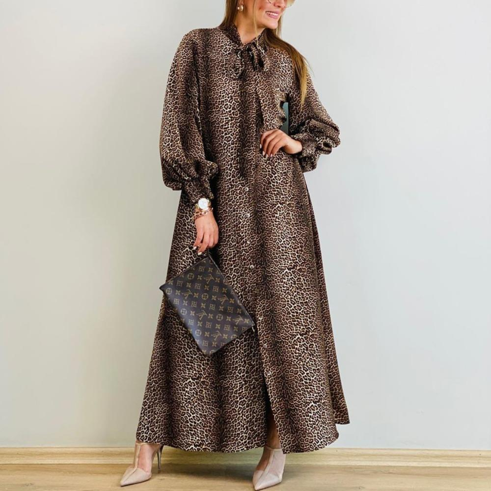 Leopard Tie Bow Buttons Down Loose Maxi Dress-Brown-S-