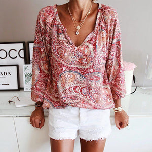 Let's Do This Paisley Print Blouse-Multicolor-S-