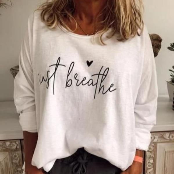 Letter Print Crew Neck Long Sleeve Top-White-S-