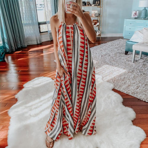 Life's a Beach Printed Maxi Dress-Red-S-