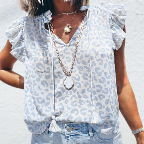 Light Blue V-Neck Short Sleeve Printed Blouse-Blue-S-