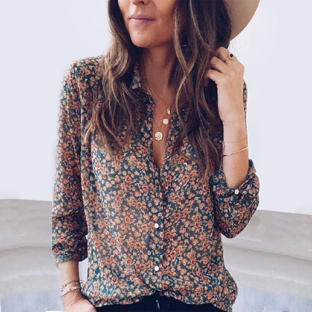 Long Sleeve Button Print Top-Brown-S-