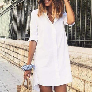 Long Sleeve V-Neck Casual Mini Dress-WHITE-S-