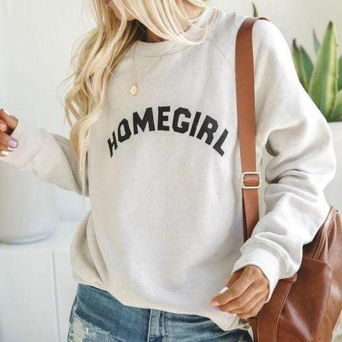Loose Letter Printed Round Neck Sweatshirt-White-S-
