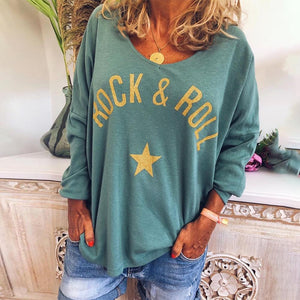Loose Long Sleeve Letter Printed Top-Green-S-