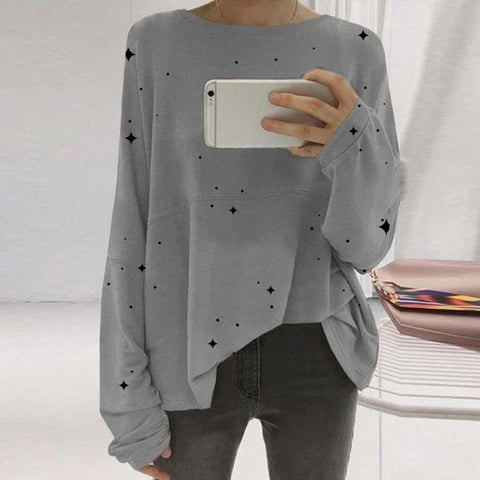 Loose Round Neck Long Sleeve Star Print T-Shirt-GREY-S-
