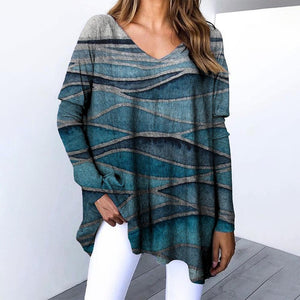 Loose V-Neck Long Sleeve Printed Sweatshirt-Green-S-