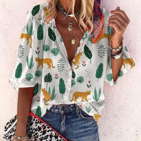 Lovely Print Long Sleeve Buttoned Blouse-White-S-