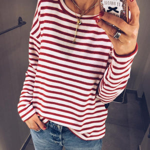 Lovely Red Striped Long Sleeve Top-Red-S-